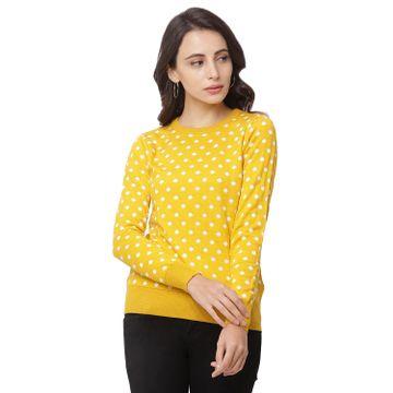 globus   Globus Yellow Round Neck Printed Sweatshirt