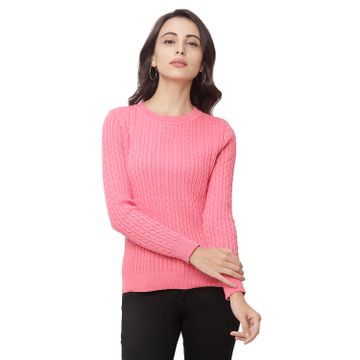 globus   Globus Pink Round Neck Self Design Sweatshirt