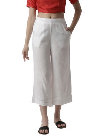 De Moza | De Moza Ladies Crop Palazzo Woven Bottom Rayon White