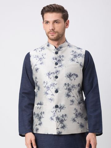 Ethnicity | Ethnicity Polyester Blend Straight Full Sleeve Men Navy Jackets