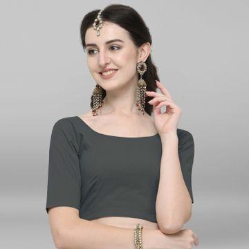 Janasya | Janasya Women's Grey Cotton Stitched Blouse