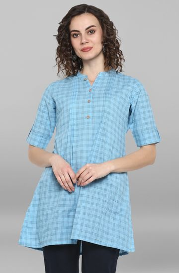 Janasya | Janasya Women's Sky Blue Weaved Cotton/South Cotton Top