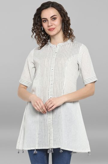 Janasya | Janasya Women's White Weaved Cotton/South Cotton Top