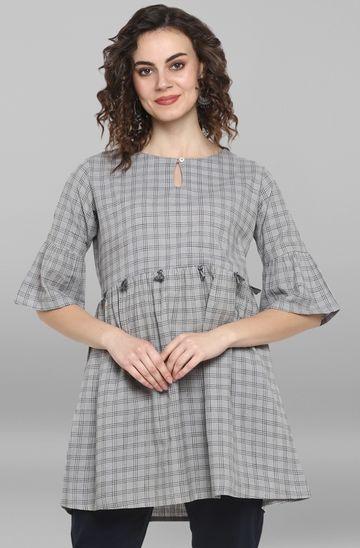 Janasya | Janasya Women's Grey Weaved Cotton Top