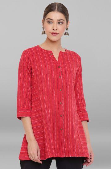 Janasya | Janasya Women's Red Weaved Cotton Top