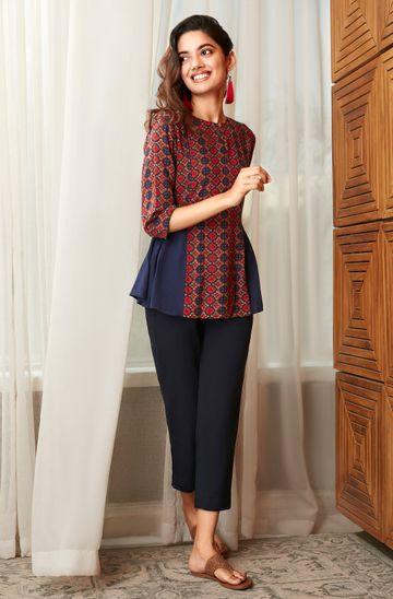 Janasya | Janasya Women's Blue Rayon Top