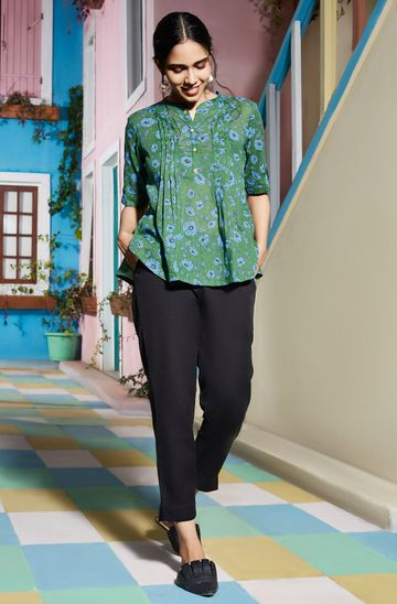 Janasya | Janasya Women's Green Cotton Top