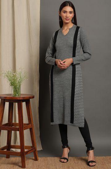 Janasya   Janasya Women's Grey Woolen Kurta