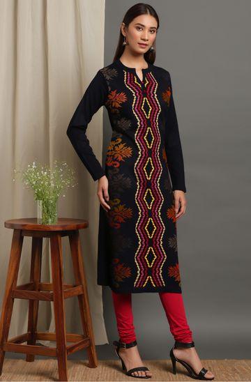 Janasya   Janasya Women's Black Woolen Kurta