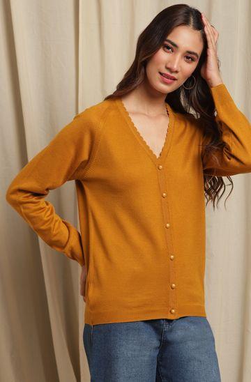 Janasya | Janasya Women's Mustard Woolen Cardigan