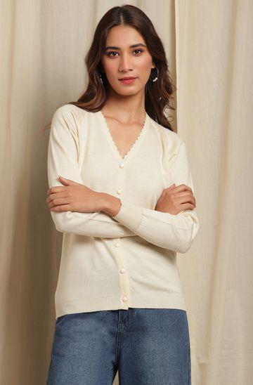 Janasya | Janasya Women's Off White Woolen Cardigan