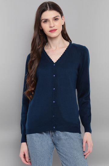 Janasya | Janasya Women's Blue Woolen Cardigan