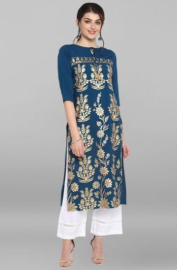 Janasya | Janasya Women's Turquoise Blue Poly Crepe Kurta