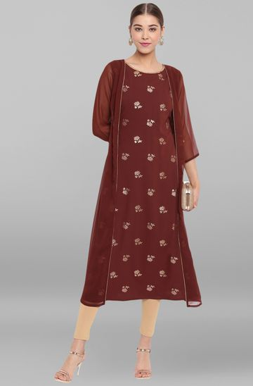 Janasya | Janasya Women's Brown Poly Crepe Kurta
