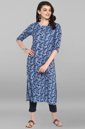 Janasya | Janasya Women's Blue Cotton Kurta