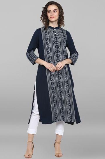 Janasya | Janasya Women's Blue Cotton Flex Kurta