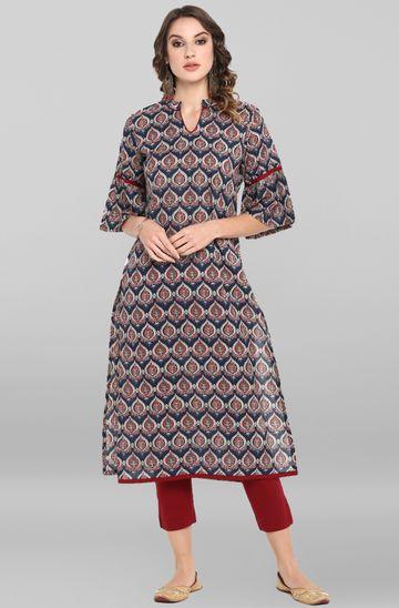 Janasya | Janasya Women's Multicolor Cotton Kurta With Pant