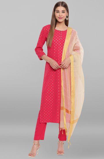 Janasya | Janasya Women's Pink Poly Crepe Kurta With Pant And Dupatta