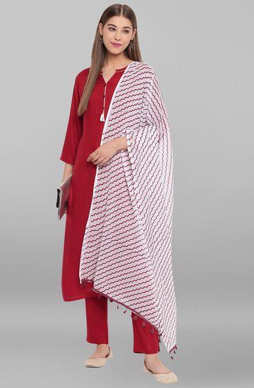 Janasya | Janasya Women's Maroon Rayon Kurta With Pant And Dupatta