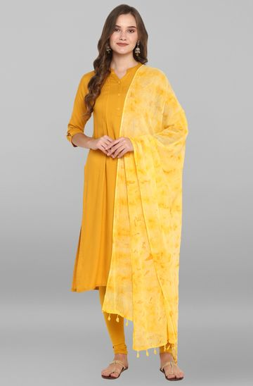 Janasya | Janasya Women's Yellow Rayon Kurta With Dupatta