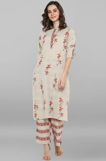 Janasya | Janasya Women's Cream Cotton Slub Kurta With Palazzo