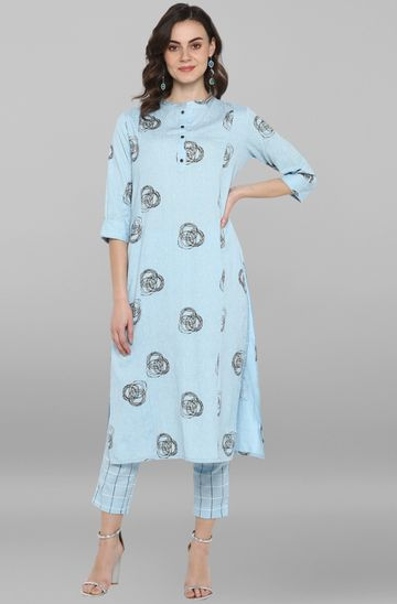 Janasya | Janasya Women's Sky Blue Cotton Kurta With Pant