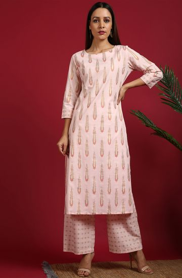 Janasya | Janasya Women's Pink Cotton Kurta With Palazzo