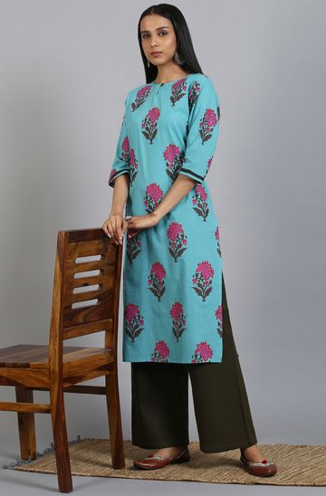 Janasya | Janasya Women's Turquoise Green Cotton Kurta With Palazzo