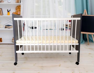 Mothercare | Grey R for Rabbit Baby's Den Baby Cot with Mattress