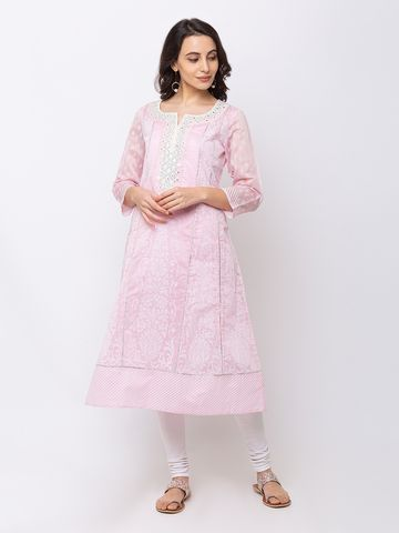 Ethnicity | Ethnicity Chanderi Kalidar Three-Fourth Women Pink Kurta