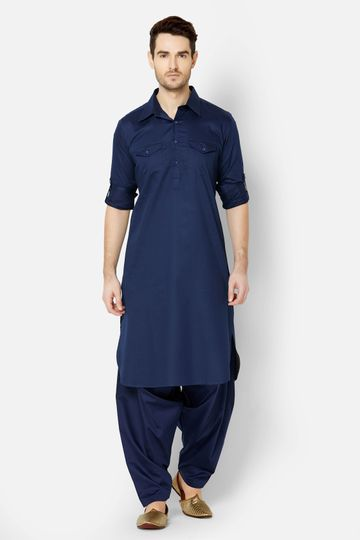 Ethnicity | Navy Cotton pathani kurta set