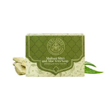 LUXURIATE | LUXURIATE Multani Mitti and Aloe Vera Exfoliating for Acne-Free Skin Soap for Men and Women,125 gm