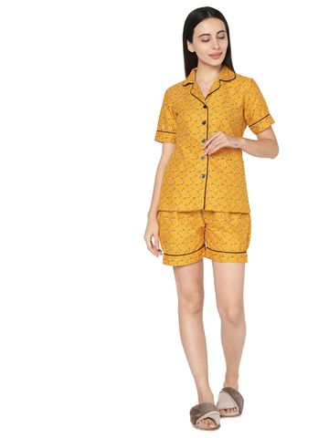 Smarty Pants | Mustard cotton floral print night suit pair