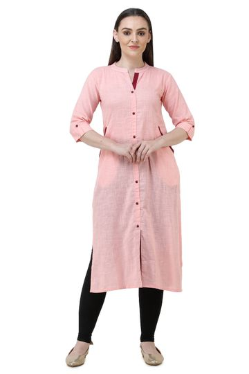 Lavanya | Light Pink Lavanya Plain Solid Straight Kurta