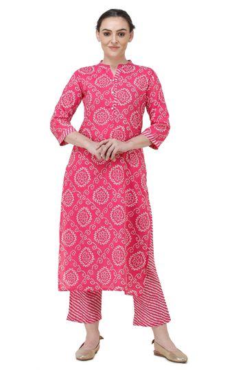 Lavanya | Pink Printed Straight Kurta With Palazzo