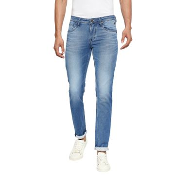 LAWMAN Pg3 | Lawman Pg3 Casual Cotton Lycra Skinny Fit Solid Dodger Blue Shade Color Mens Jeans