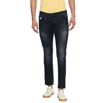 LAWMAN Pg3   Lawman Pg3 Casual Cotton Lycra Skinny Fit Solid Metal Blue Shade Color Mens Jeans