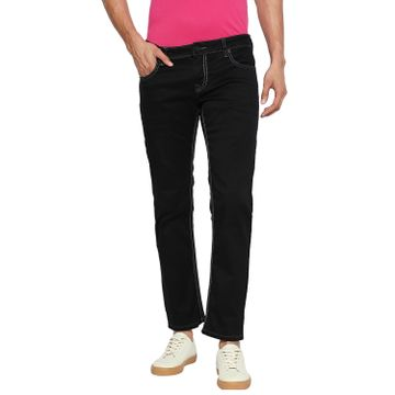 LAWMAN Pg3 | Lawman Pg3 Casual Cotton Lycra Skinny Fit Solid Pitch Black Shade Color Mens Jeans