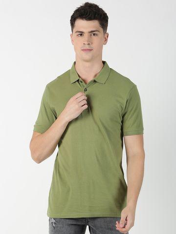 Blue Saint | Blue Saint Men's Solid Green T-Shirt