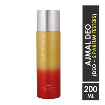 Ajmal | Ajmal Captivate High Quality Deodorant Floral Fragrance 200ML casual wear for Unisex + 2 Parfum Testers