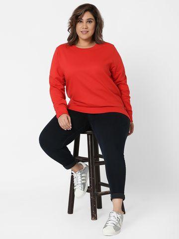 Marca Bold | Red Embellished Round Neck Sweatshirt