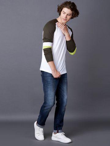 MARCA DISATI | Olive and White Colourblock T-Shirt