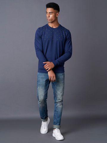 MARCA DISATI | Navy Solid Sweatshirt