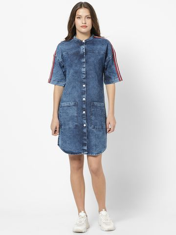 MARCA DISATI   Short-Sleeved Denim Dress