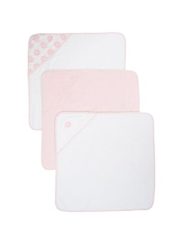 Mothercare | Pink Cuddle 'N' Dry Hooded Towels - Pack of 3