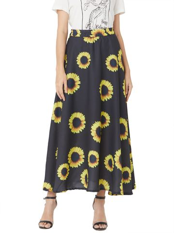 Smarty Pants | Black color sunflower printed flare skirt