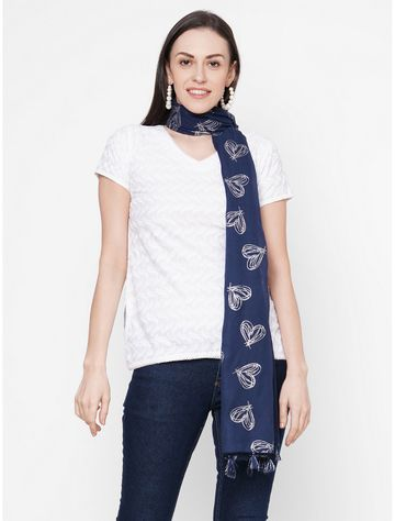 Get Wrapped | Get Wrapped Blue Polyester Printed Scarf with Tasselled Border