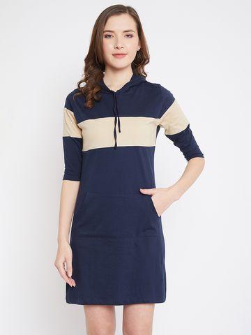 Jhankhi   Women's Blue-Beige Colorblocked Shift Dress