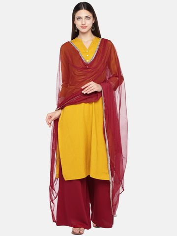 Ethnicity | Ethnicity Polystaple Straight Three-Fourth Women Mustard Kurta