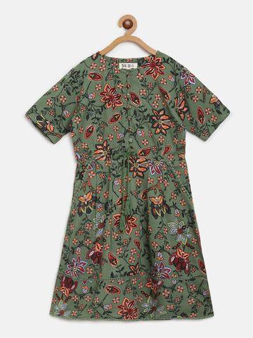 Bellamoda | Bella Moda A line, Fit & Flair, Casual Dress, For Girls, Green,7 - 8 Years
